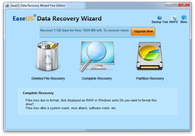 EaseUS Data Recovery Wizard Free Edition screenshot 1