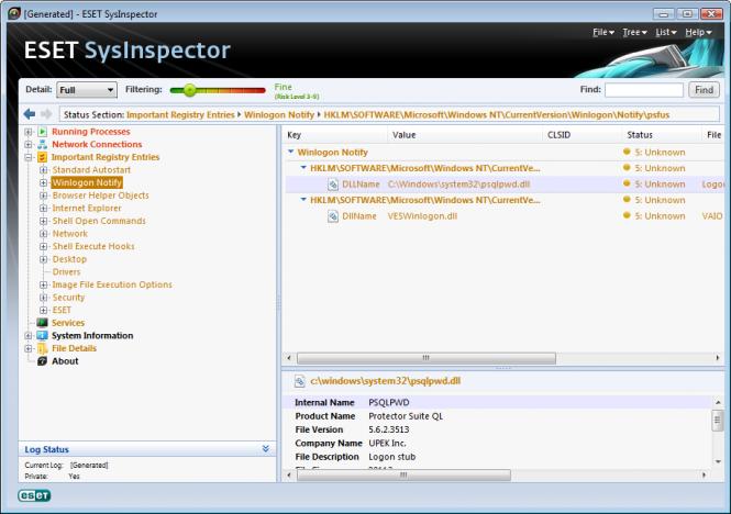 ESET SysInspector screenshot 1