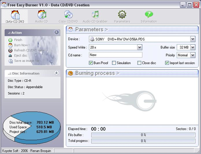 Free Easy CD DVD Burner screenshot 1