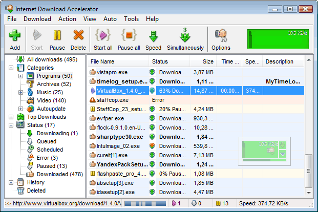 Internet Download Accelerator screenshot 1