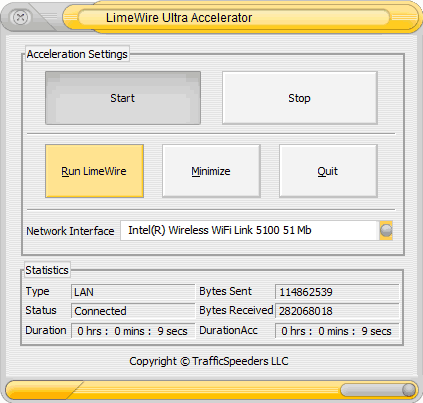 LimeWire Ultra Accelerator screenshot 1