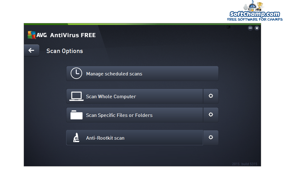 AVG Antivirus FREE Scan Options