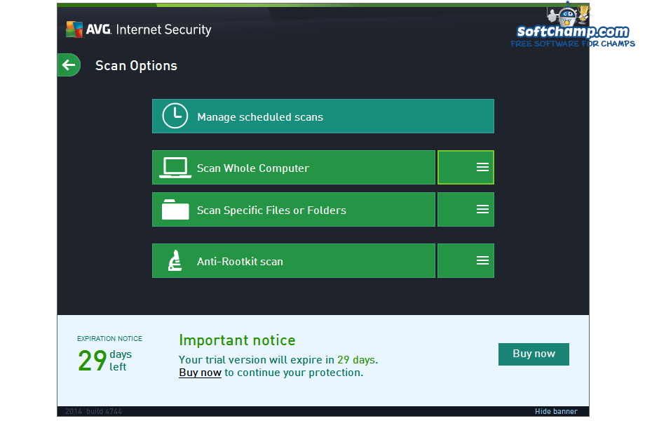 AVG Internet Security Scan Options