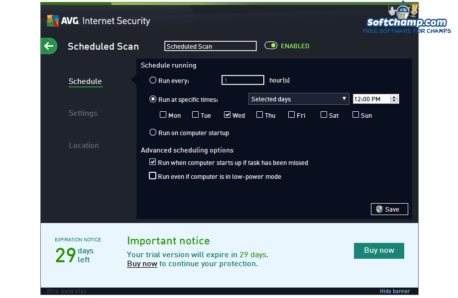 AVG Internet Security Scheduled Scan