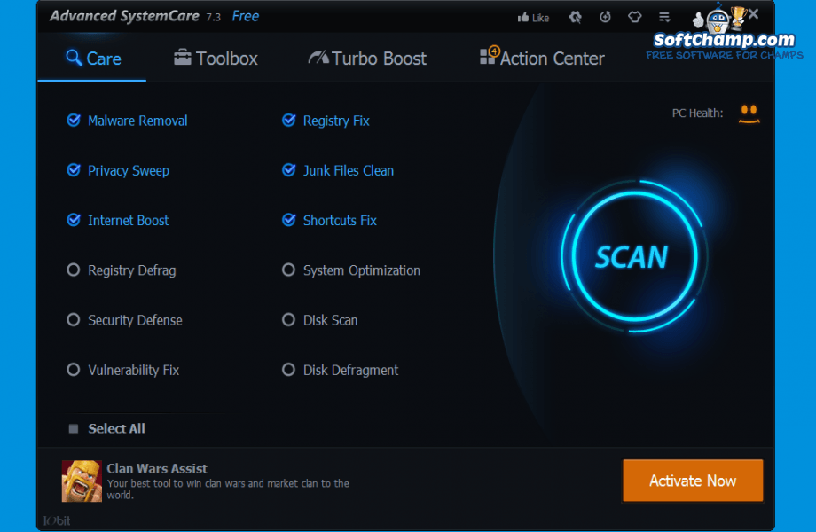 Advanced SystemCare Care options