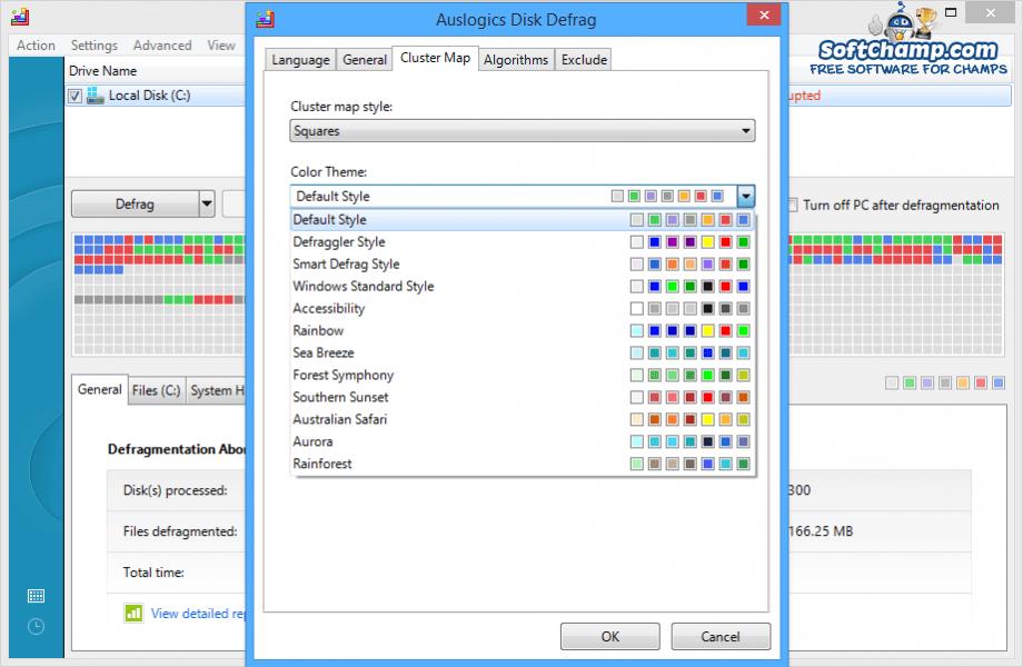 Auslogics Disk Defrag Cluster Map