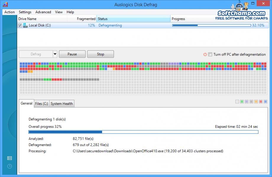 Auslogics Disk Defrag Defragmenting