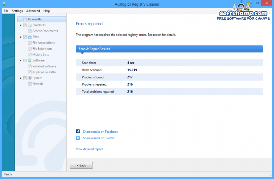 Auslogics Registry Cleaner Scan and Repair Results