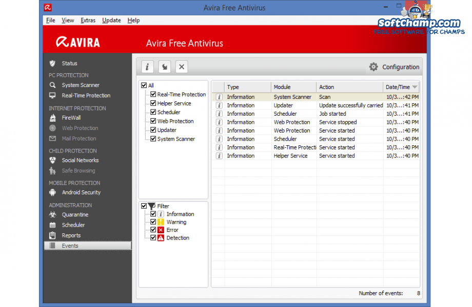 Avira Free Antivirus Events