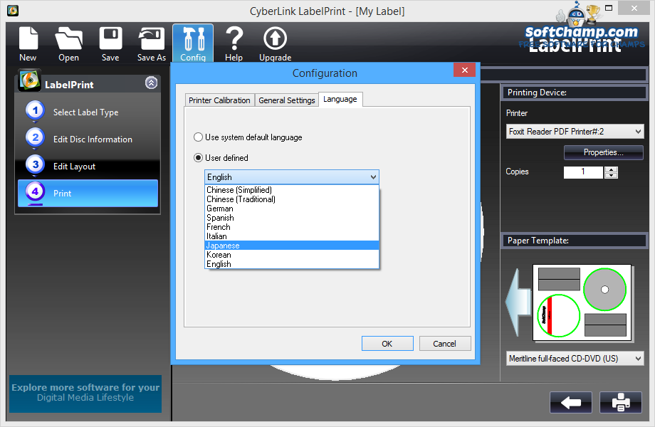 CyberLink LabelPrint Settings Language Compatibility
