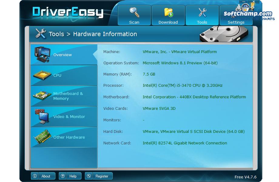 DriverEasy Hardware Information