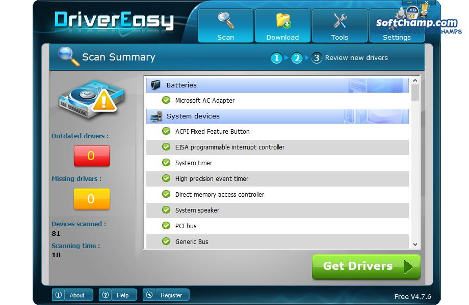 DriverEasy Scan summary