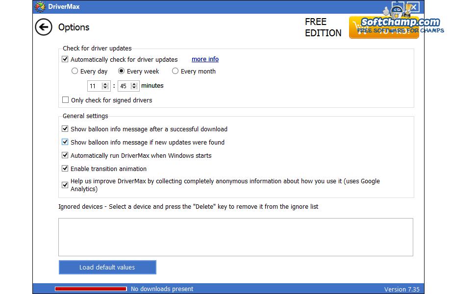 DriverMax Options