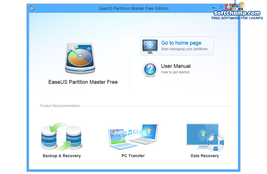EaseUS Partition Master Free Edition Landing Screen