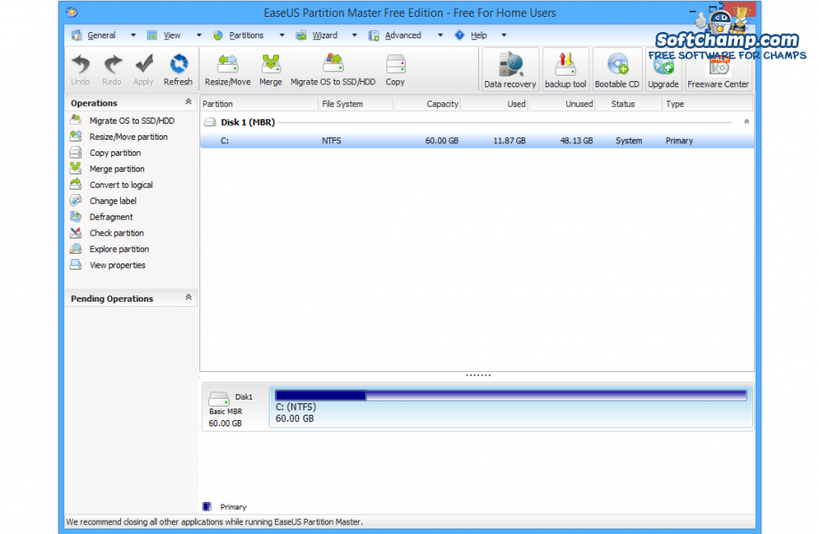 EaseUS Partition Master Free Edition Local Drive