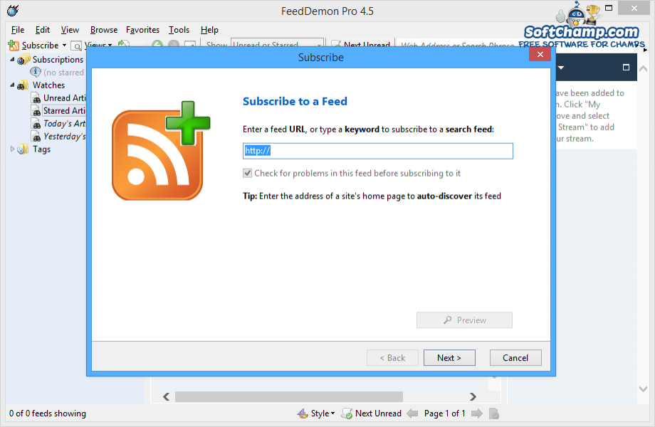 FeedDemon New Subscription
