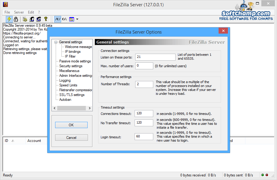 FileZilla Server General Settins