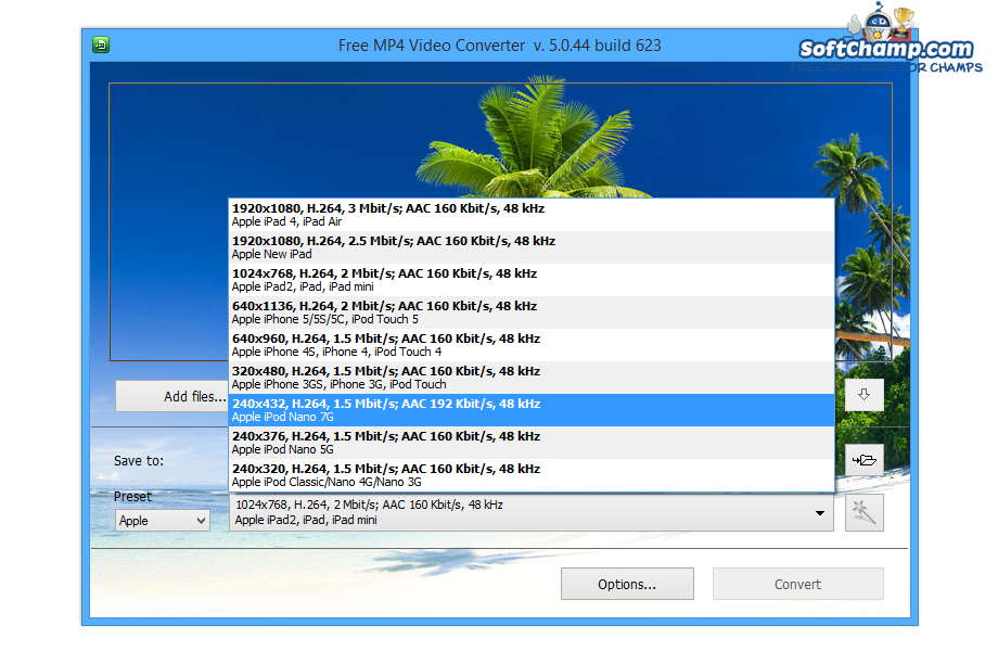 Free MP4 Video Converter Preset 2