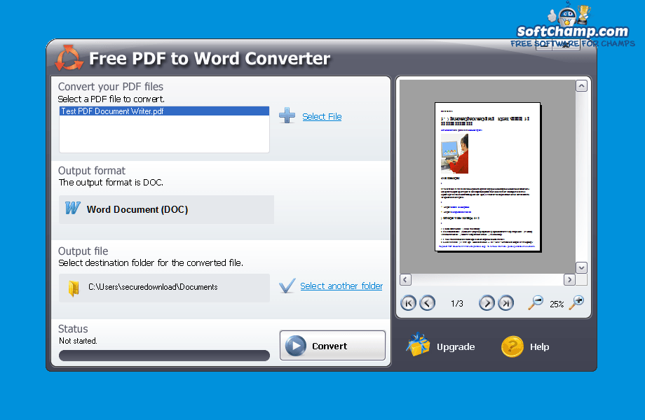 Download Free PDF to Word Converter 5.1.0.383 | review SoftChamp.com