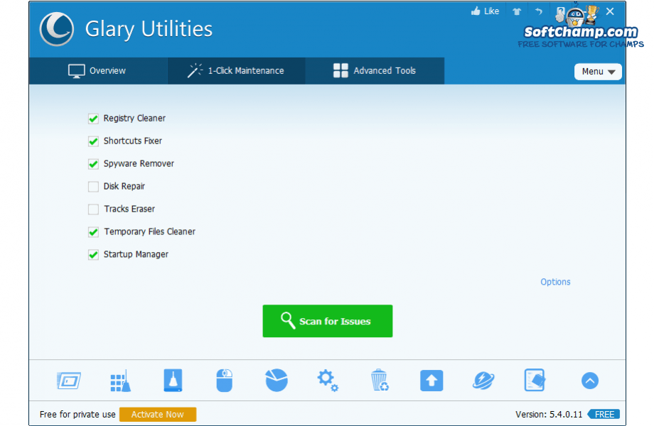 Glary Utilities 1 Click Maintenance