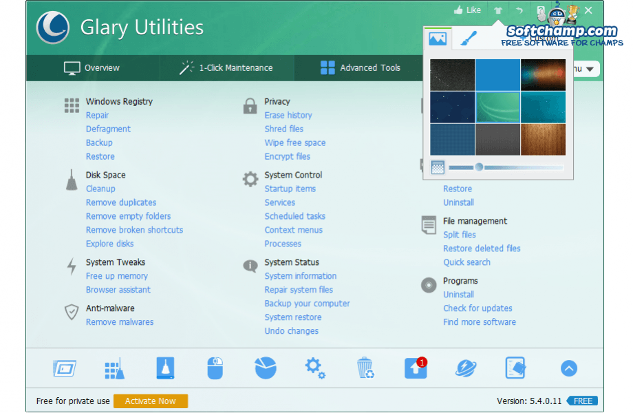 Glary Utilities Interface Custom Theme