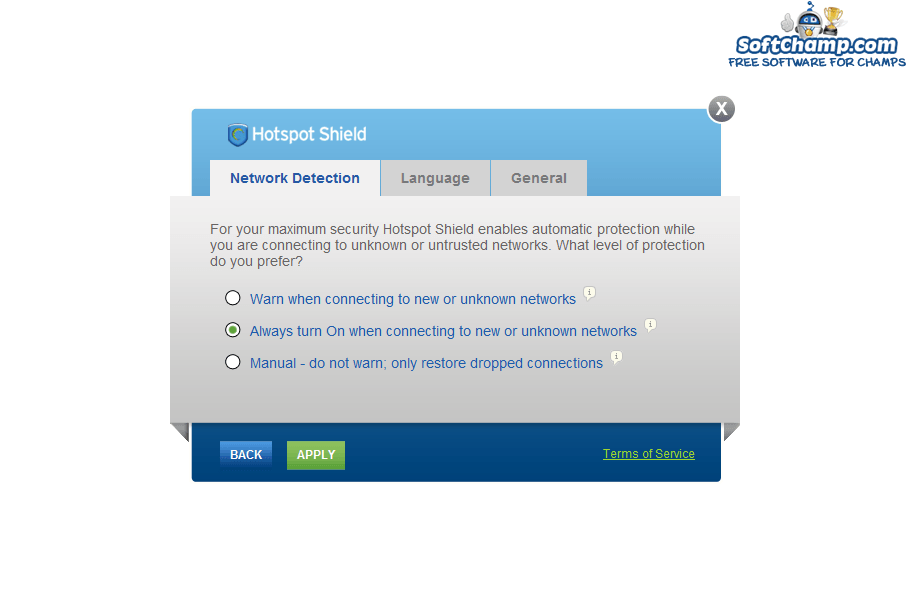 Hotspot Shield Network Detection Settings