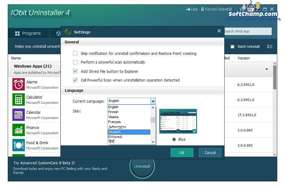 IObit Uninstaller Settings Language