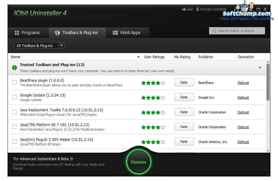 IObit Uninstaller Toolbars And Plugins