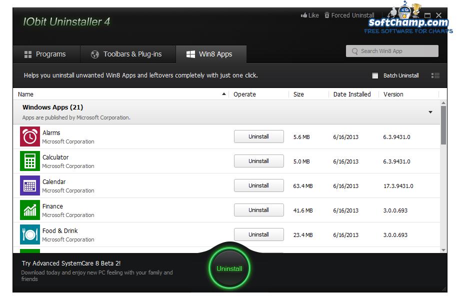 IObit Uninstaller Win8 Apps