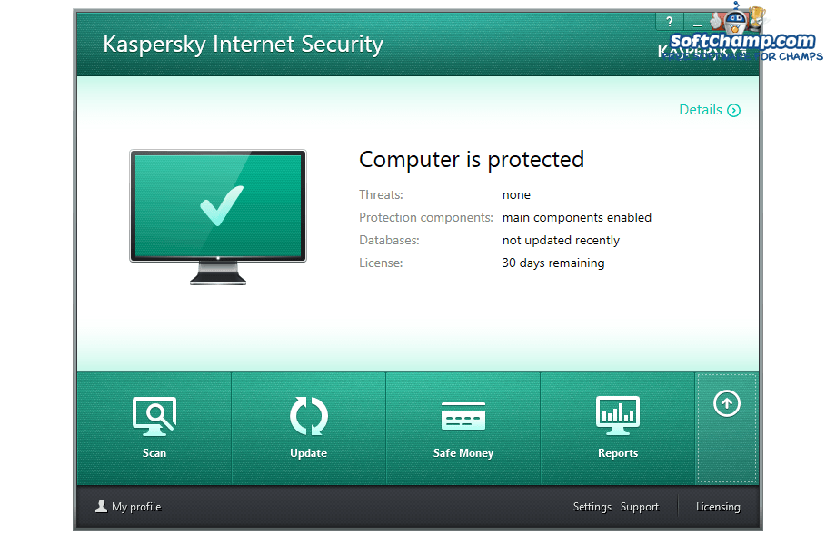 Kaspersky Internet Security PC Security Status