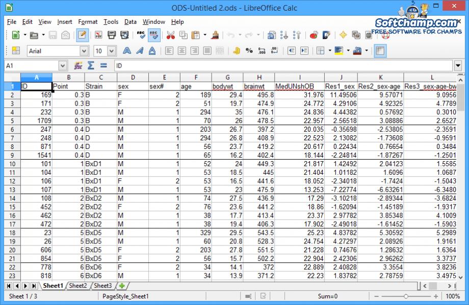 LibreOffice Calc Spreadsheet