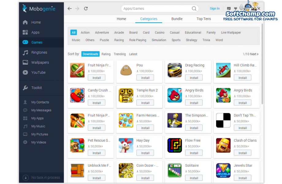 Mobogenie Games Categories