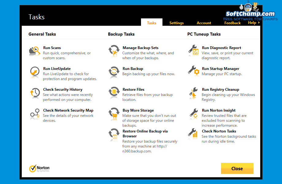 Norton 360 Tasks