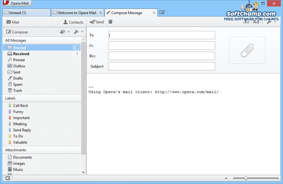 Opera Mail Compose Message