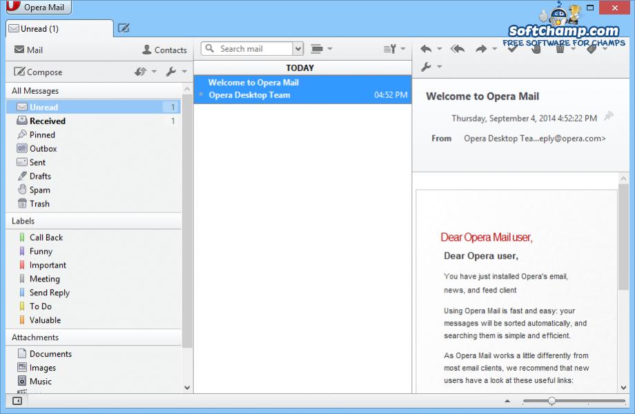 Opera Mail Message