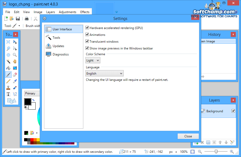 PaintNET Settings User Interface