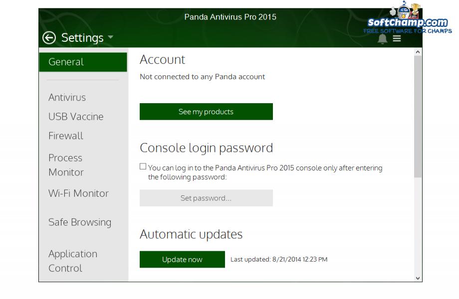 Panda Antivirus Pro Settings