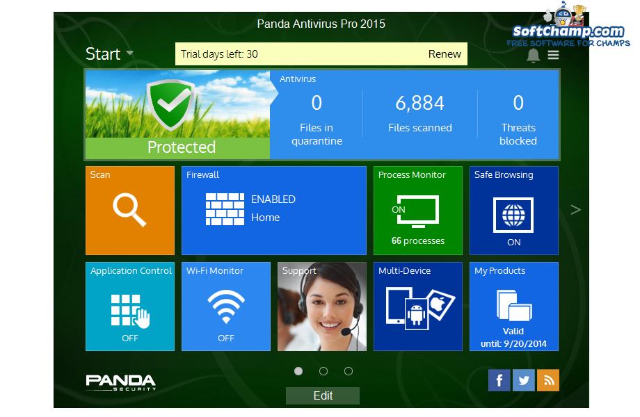 Panda Antivirus Pro System Status Protected