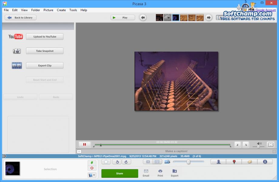 Picasa Video Playback