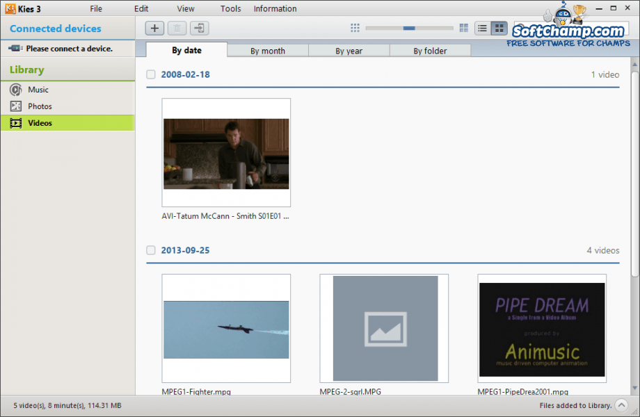 Samsung Kies 3 Video Library