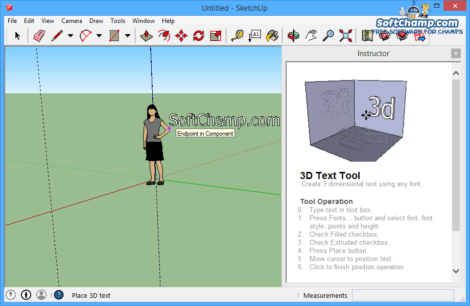 SketchUp Make 3D Text