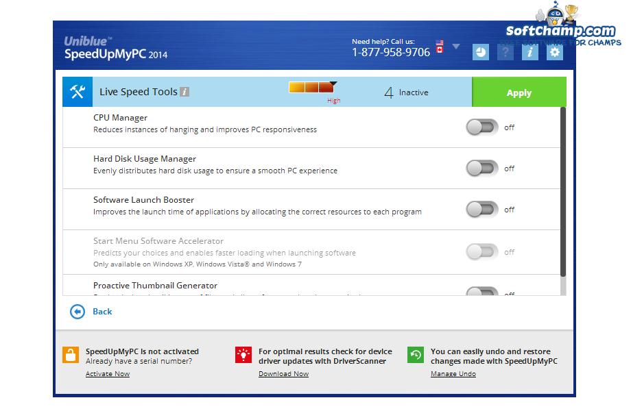 SpeedUpMyPC Live Speed Tools
