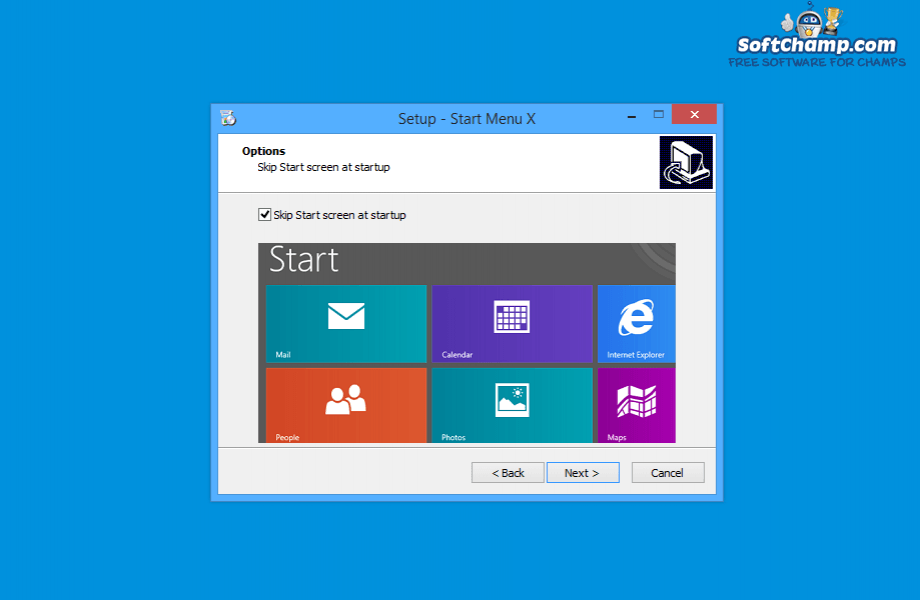 Start Menu X Skip Start screen
