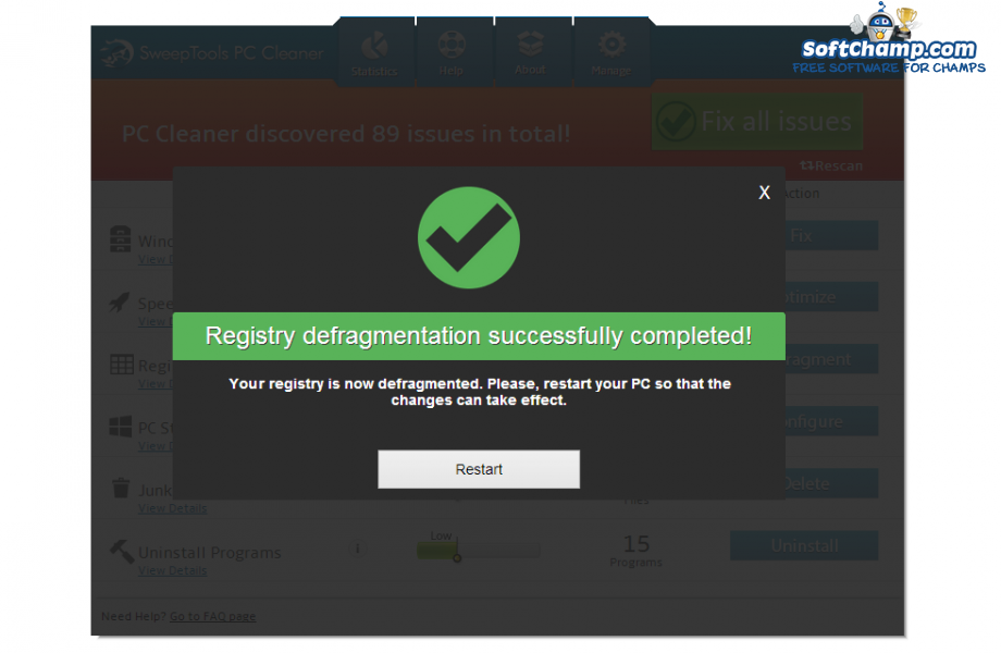 SweepTools PC Cleaner Registry defragmentation