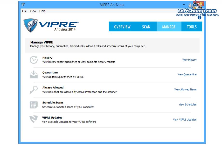 VIPRE Antivirus Manage VIPRE
