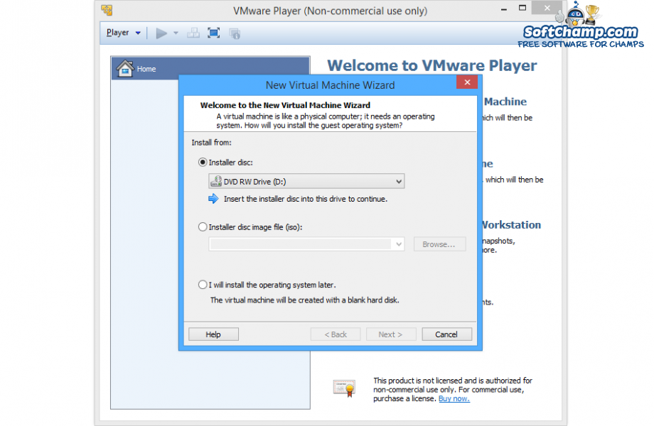 VMware Player New Virtual Machine Wizard