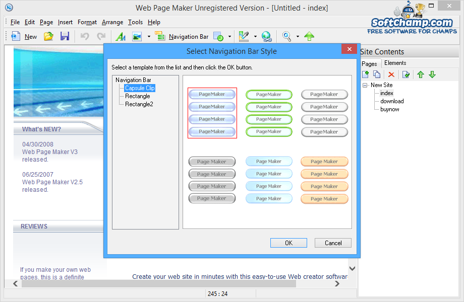 Web Page Maker Select Navigation Bar Style