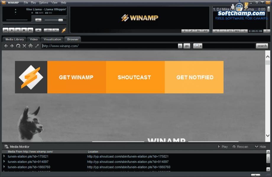 Winamp Web Browser