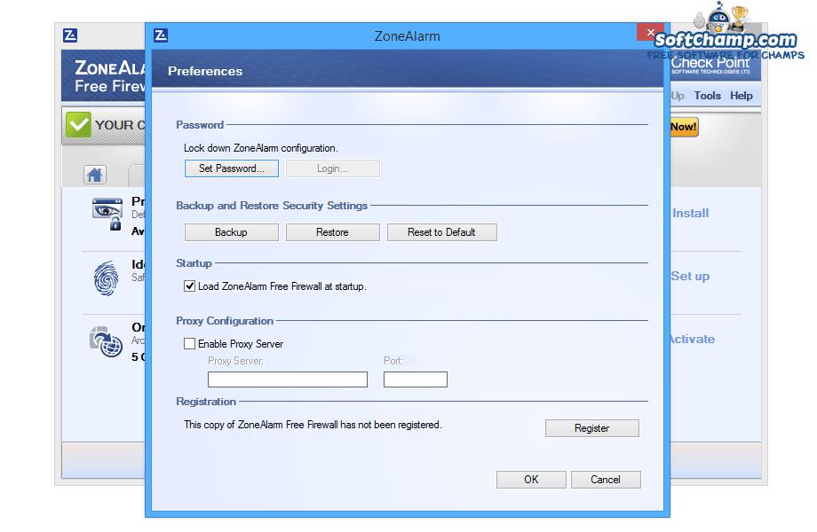 ZoneAlarm Free Firewall Preferences