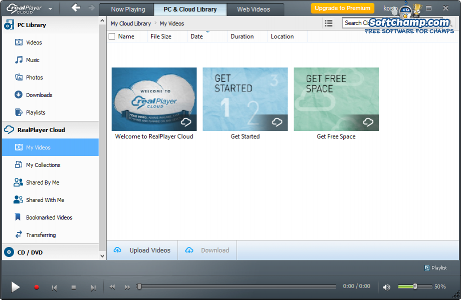 realPlayer Cloud Library